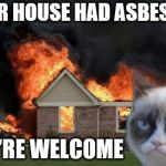 They were going to sell the house anyway... in another 20 years. | YOUR HOUSE HAD ASBESTOS YOU'RE WELCOME | image tagged in memes,burn kitty,grumpy cat,asbestos | made w/ Imgflip meme maker