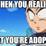 Surprized Vegeta Meme | WHEN YOU REALIZE THAT YOU'RE ADOPTED | image tagged in memes,surprized vegeta | made w/ Imgflip meme maker