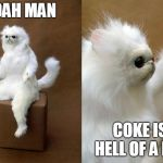 Persian Cat Room Guardian Meme | WOAH MAN COKE IS A HELL OF A DRUG | image tagged in memes,persian cat room guardian | made w/ Imgflip meme maker