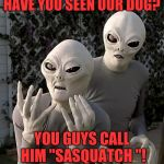 "Aliens | HAVE YOU SEEN OUR DOG? YOU GUYS CALL HIM ""SASQUATCH ""! 