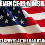 American flag | REVENGE IS A DISH... BEST SERVED AT THE BALLOT BOX. | image tagged in american flag | made w/ Imgflip meme maker