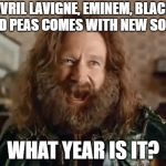 What Year Is It Meme | AVRIL LAVIGNE, EMINEM, BLACK EYED PEAS COMES WITH NEW SONGS WHAT YEAR IS IT? | image tagged in memes,what year is it | made w/ Imgflip meme maker