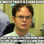 I couldn't have done it without you, and my employer's internet connection!!! | 30,000 IMGFLIP POINTS IS A GOOD BENCHMARK FALSE: GETTING ALL OF YOUR WORK DONE WHILE GETTING 30,000 POINTS IS A GOOD BENCHMARK | image tagged in memes,dwight schrute | made w/ Imgflip meme maker