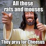 PRAYING FOR CHEESUS | All those rats and mouses They pray for Cheesus | image tagged in memes,buddy christ,jesus,praying,mouse,funny | made w/ Imgflip meme maker