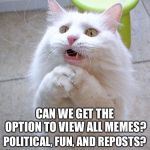 I like them all so... | CAN WE GET THE OPTION TO VIEW ALL MEMES? POLITICAL, FUN, AND REPOSTS? | image tagged in begging cat,imgflip | made w/ Imgflip meme maker