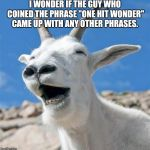 "Laughing Goat | I WONDER IF THE GUY WHO COINED THE PHRASE ""ONE HIT WONDER"" CAME UP WITH ANY OTHER PHRASES. 