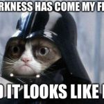Grumpy Cat Star Wars Meme | THE DARKNESS HAS COME MY FRIENDS AND IT LOOKS LIKE FUN | image tagged in memes,grumpy cat star wars,grumpy cat | made w/ Imgflip meme maker