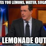 Speechless Colbert Face Meme | IF LIFE GIVES YOU LEMONS, WATER, SUGAR AND ICE MAKE LEMONADE OUT OF IT | image tagged in memes,speechless colbert face | made w/ Imgflip meme maker
