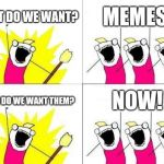 What Do We Want Meme | WHAT DO WE WANT? MEMES! WHEN DO WE WANT THEM? NOW! | image tagged in memes,what do we want | made w/ Imgflip meme maker