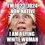 Fauxcahontas | I'M 1023/1024 NON-NATIVE I AM A LYING WHITE WOMAN | image tagged in elizabeth warren | made w/ Imgflip meme maker