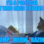 3 possible imgflip categories | I'M A POLITICAL CAT WHO LIKES TO HAVE FUN TRUMP , MEOW , BAZINGA | image tagged in memes,i should buy a boat cat | made w/ Imgflip meme maker