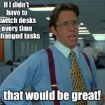If meme segregation were put into an office policy | If I didn't have to switch desks every time I changed tasks that would be great! | image tagged in memes,that would be great,segregated memes,funny memes | made w/ Imgflip meme maker