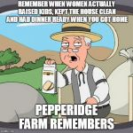 Pepperidge Farm Remembers Meme | REMEMBER WHEN WOMEN ACTUALLY RAISED KIDS, KEPT THE HOUSE CLEAN AND HAD DINNER READY WHEN YOU GOT HOME PEPPERIDGE FARM REMEMBERS | image tagged in memes,pepperidge farm remembers | made w/ Imgflip meme maker
