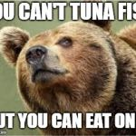 Smug Bear Meme | YOU CAN'T TUNA FISH BUT YOU CAN EAT ONE! | image tagged in memes,smug bear | made w/ Imgflip meme maker