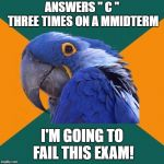 "Paranoid Parrot Meme | ANSWERS "" C "" THREE TIMES ON A MMIDTERM I'M GOING TO FAIL THIS EXAM! 