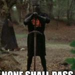 When the border is closed  | NONE SHALL PASS | image tagged in monty python black knight,border,closed border,great memes,monty python,comedy | made w/ Imgflip meme maker