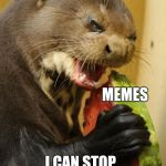 You are no one to judge me! | ME MEMES I CAN STOP WHENEVER I WANT TO! | image tagged in memes,self loathing otter | made w/ Imgflip meme maker