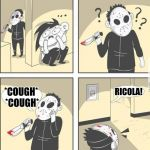 Serial killing during cold and flu season | *COUGH* *COUGH* RICOLA! | image tagged in jason | made w/ Imgflip meme maker