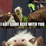 It's a cow | HEY YOU I GOT SOME BEEF WITH YOU | image tagged in bad pun cow,beef,that face | made w/ Imgflip meme maker