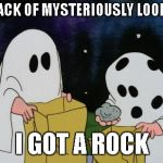 5 year olds that  don't get there candy checked | I GOT A PACK OF MYSTERIOUSLY LOOKING GUM I GOT A ROCK | image tagged in charlie brown halloween rock | made w/ Imgflip meme maker
