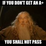 Gandalf - you shall not pass | IF YOU DON'T GET AN A+ YOU SHALL NOT PASS | image tagged in gandalf - you shall not pass | made w/ Imgflip meme maker