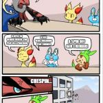 Pokemon board meeting | OK, SO WHATS GOING TO BE OUR NEXT BIG SPIN OFF? A OPEN 3D WORLD WHERE YOU PLAY AS A POKEMON A 4TH WALL BREAKING PLAT FORMER A SPIN OFF GEN 1 | image tagged in pokemon board meeting,pokemon | made w/ Imgflip meme maker