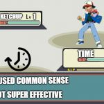 Pokemon Battle | ASH KETCHUP 1 TIME 100 TIME USED COMMON SENSE ITS NOT SUPER EFFECTIVE | image tagged in pokemon battle,pokemon | made w/ Imgflip meme maker