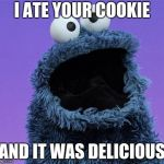 cookie monster | I ATE YOUR COOKIE AND IT WAS DELICIOUS | image tagged in cookie monster | made w/ Imgflip meme maker
