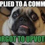 Hopefully he didnt see it | I REPLIED TO A COMMENT I FORGOT TO UPVOTE IT | image tagged in pug worried,comments,reply,upvote | made w/ Imgflip meme maker