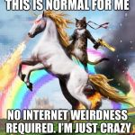Welcome To The Internets Meme | THIS IS NORMAL FOR ME NO INTERNET WEIRDNESS REQUIRED. I'M JUST CRAZY | image tagged in memes,welcome to the internets | made w/ Imgflip meme maker