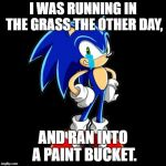 #Youwenttoofast | I WAS RUNNING IN THE GRASS THE OTHER DAY, AND RAN INTO A PAINT BUCKET. | image tagged in memes,youre too slow sonic | made w/ Imgflip meme maker