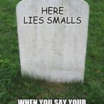 Tombstone | HERE LIES SMALLS WHEN YOU SAY YOUR KILLING ME SMALLS, HE REALLY WAS KILLING HIMSELF. | image tagged in tombstone | made w/ Imgflip meme maker