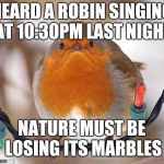 Bah Humbug Meme | HEARD A ROBIN SINGING AT 10:30PM LAST NIGHT NATURE MUST BE LOSING ITS MARBLES | image tagged in memes,bah humbug,bird,funny,funny memes,latest | made w/ Imgflip meme maker