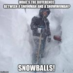 SNOW!!! | WHAT'S THE DIFFERENCE BETWEEN A SNOWMAN AND A SNOWWOMAN? SNOWBALLS! | image tagged in snow | made w/ Imgflip meme maker