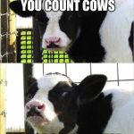 cows | HOW DO YOU COUNT COWS WITH A COWCULATOR | image tagged in cows | made w/ Imgflip meme maker