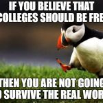 Nothing is free in real life, life is unforgiving. | IF YOU BELIEVE THAT COLLEGES SHOULD BE FREE THEN YOU ARE NOT GOING TO SURVIVE THE REAL WORLD | image tagged in memes,unpopular opinion puffin | made w/ Imgflip meme maker