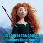 Merida Brave Meme | Of course the carpet matches the drapes! | image tagged in memes,merida brave | made w/ Imgflip meme maker
