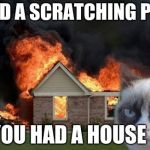 Burn Kitty Meme | I HAD A SCRATCHING POST YOU HAD A HOUSE | image tagged in memes,burn kitty,grumpy cat | made w/ Imgflip meme maker