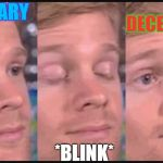 Blinking guy | JANUARY *BLINK* DECEMBER WTF | image tagged in blinking guy | made w/ Imgflip meme maker