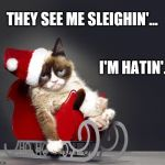 Tryin' to catch him carin' | THEY SEE ME SLEIGHIN'... I'M HATIN'... | image tagged in grumpy cat christmas hd,chamillionaire,ridin',they see me rollin',sled,memes | made w/ Imgflip meme maker