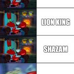 Shocked Mr Krabs | TOY STORY 4 LION KING SHAZAM AVENGERS: END GAME | image tagged in shocked mr krabs | made w/ Imgflip meme maker