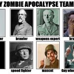 My Zombie Apocalypse Team | image tagged in my zombie apocalypse team,memes,robert e lee,patton | made w/ Imgflip meme maker