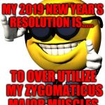 Cool smiley | MY 2019 NEW YEAR'S RESOLUTION IS..... TO OVER UTILIZE MY ZYGOMATICUS MAJOR MUSCLES | image tagged in cool smiley | made w/ Imgflip meme maker