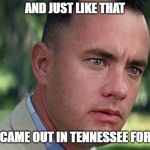 Forest Gump | AND JUST LIKE THAT THE SUN CAME OUT IN TENNESSEE FOR ONE DAY | image tagged in forest gump | made w/ Imgflip meme maker