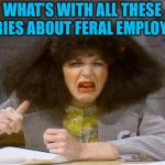Gilda Radner | WHAT'S WITH ALL THESE STORIES ABOUT FERAL EMPLOYEES? | image tagged in gilda radner | made w/ Imgflip meme maker