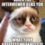 Grumpy Cat Reverse Meme | WHEN THE INTERVIEWER ASKS YOU WHAT YOUR GREATEST WEAKNESS IS | image tagged in memes,grumpy cat reverse,grumpy cat | made w/ Imgflip meme maker
