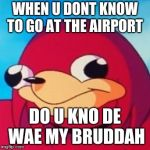 Ugandan Knuckles | WHEN U DONT KNOW TO GO AT THE AIRPORT DO U KNO DE WAE MY BRUDDAH | image tagged in ugandan knuckles | made w/ Imgflip meme maker