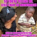 3rd World Sceptical Child | SO YOU'RE TELLING ME. LESS THAN 30 INDIVIDUALS OWN AS MUCH WEALTH AS THE POOREST 3.8 BILLION PEOPLE ON EARTH? | image tagged in 3rd world sceptical child | made w/ Imgflip meme maker