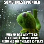 sometimes I wonder  | SOMETIMES I WONDER WHY MY DAD WENT TO GO GET CIGARETTES AND HASN'T RETURNED FOR THE LAST 15 YEARS | image tagged in sometimes i wonder | made w/ Imgflip meme maker