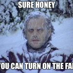 Jack Nicholson The Shining Snow Meme | SURE HONEY YOU CAN TURN ON THE FAN | image tagged in memes,jack nicholson the shining snow | made w/ Imgflip meme maker